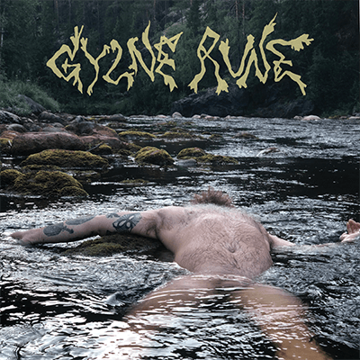 The album-cover to Gylne Rune's eponymous album - A photo of a naked tattooed man lying asleep in a river