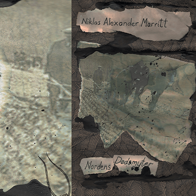 The album-cover to Nordens Dødsmyter / NH Marritt split - a collage of textiles and an old picture of a farmer plowing