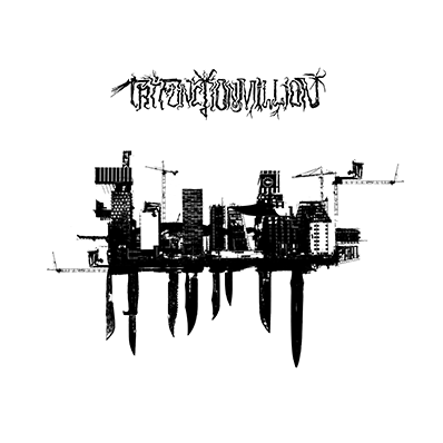 The album-cover to Tri-Function Million/UT - Avmakt/Ødemark - a collage of Barcode in Oslo, cranes and knives. Black on white.