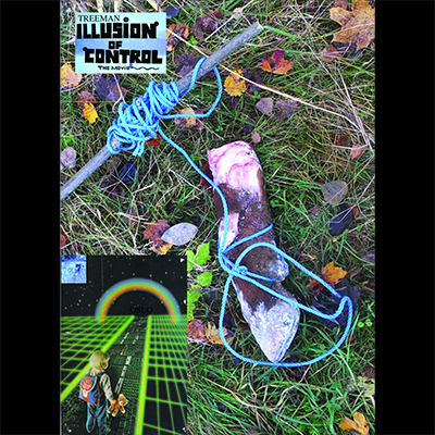 The album-cover to Treeman - Illusion of control - A hoof tied to a stick on the ground, a bou walks towards a rainbow in a retro sci-fi landscape