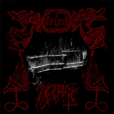 The album-cover to Utarm - The ChurcH - A black and white fire in a red frame of angels, symbols and text, on a black background