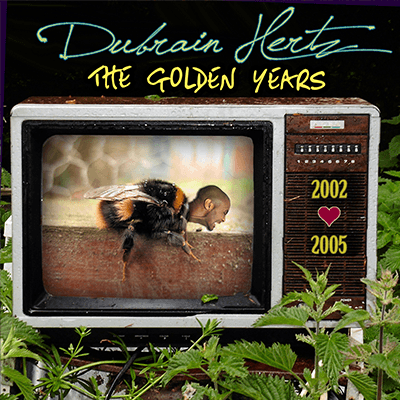 The album-cover to Dubrain Hertz - The Golden Years (2002 - 2005) - Photo-collage of a bumblebee with a human head displayed on an old television set in the jungle
