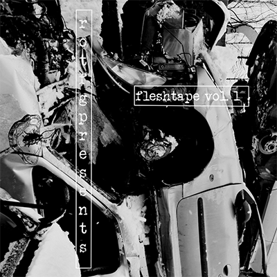 The album-cover to Fleshtape vol 1 - a black and white mess of car wrecks
