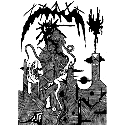 The album-cover to Compost Golem - S/T - An illustration of a golem head made from plants