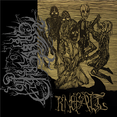 The album-cover to Gribberiket - Knefall - A drawing in black and yellow in a woodcut style. Four morbid figures behind a fifth with a hood, kneeling in the foreground.