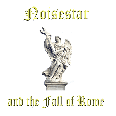 The album-cover to Noisestar and the Fall of Rome - S/T - An over-exposed photo of a statue holding a large cross on white background and yellow text