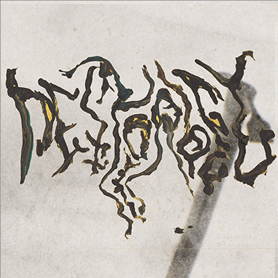 The album-cover to Pestorgel - S/T - Logo painted in black and yellow over a black and white photo of a wooden staff with a metal piece at the end