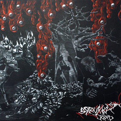 The album-cover to Tri-Function Million - Sprukket Jord - A scene from a psychedelic forest, a tree with a face, burning and cyclops deer, bears in the foreground