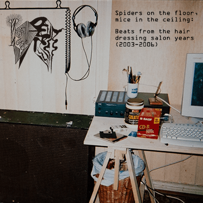 The album-cover to Kyber - Spiders on the floor, mice in the ceiling: Beats from the hair dressing salon years (2003 - 2006) - An old faded picture of a very dirty looking studio