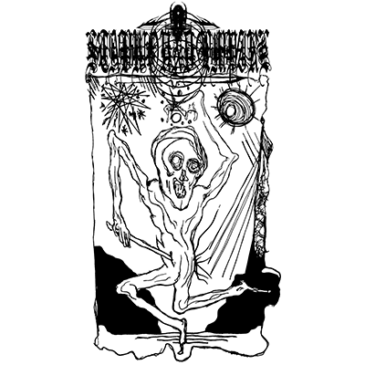 The album-cover to Stabwound Empire - Salighet og Ekstase - a black on white illustration of a chaotic, twisted figure