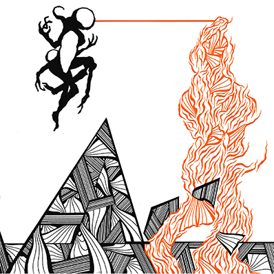 The album-cover to Tri-Function Million album Terraformer - An illustration of some kind of mutant levitating shooting a beam from his head that turns into a chaotic mass forming pyramids