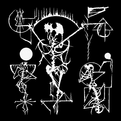 The album-cover to Utarm / Demonologists split - Drawn skeletal figures