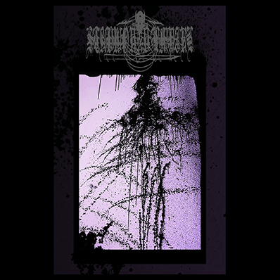 The album-cover to Stabwound Empire - V.A - abstract art of black dots and lines on a white to purple background, framed in black and purple.